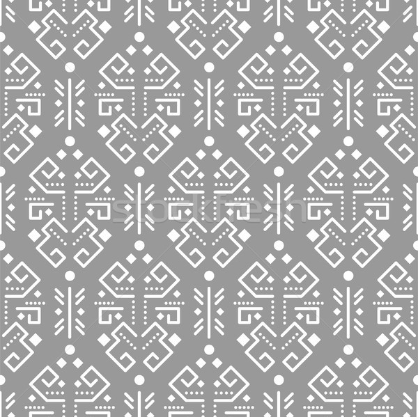 Tribal ornamento sem costura vetor padrão branco Foto stock © yopixart