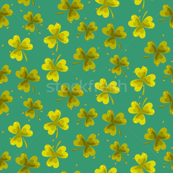 Shamrock trefoil leaf seamless vector pattern. Stock photo © yopixart