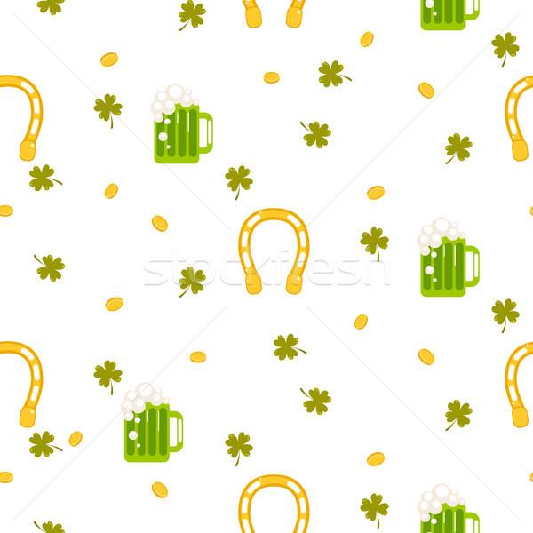 Irish St. Patrick celebration party seamless pattern. Stock photo © yopixart