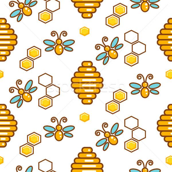 ミツバチ シームレス ベクトル パターン ミツバチ ストックフォト © yopixart