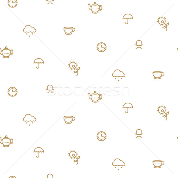 English tea party simple gold on white line vector pattern. Stock photo © yopixart