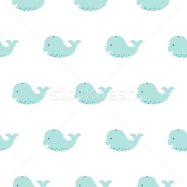 Cute blue whale baby seamless pattern. Stock photo © yopixart
