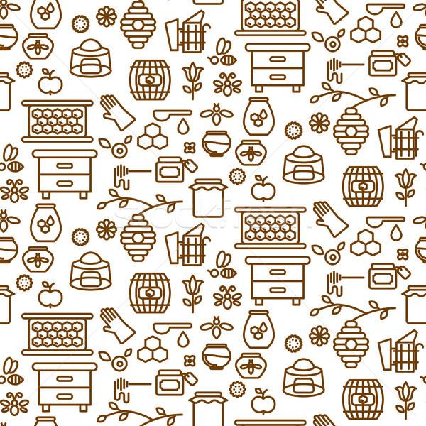Honing schets icon naadloos vector patroon Stockfoto © yopixart