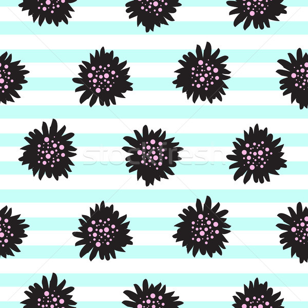 Striped black bold florals seamless pattern. Stock photo © yopixart