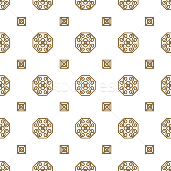 Japan kimono inspired vector seamless pattern in gold line color style. Stock photo © yopixart