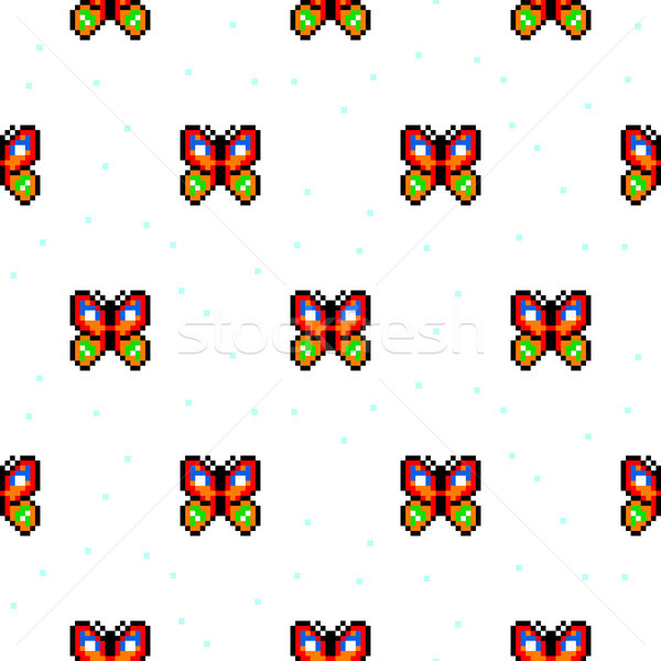 Bright butterfly cartoon pixel art seamless pattern. Stock photo © yopixart
