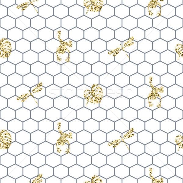 Netting outline seamless pattern with gold glitter insects. Stock photo © yopixart