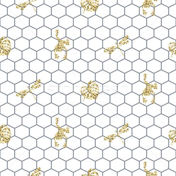Skicc végtelen minta arany csillámlás rovarok trendi Stock fotó © yopixart