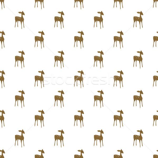 Deer cartoon vector seamless pattern. Stock photo © yopixart