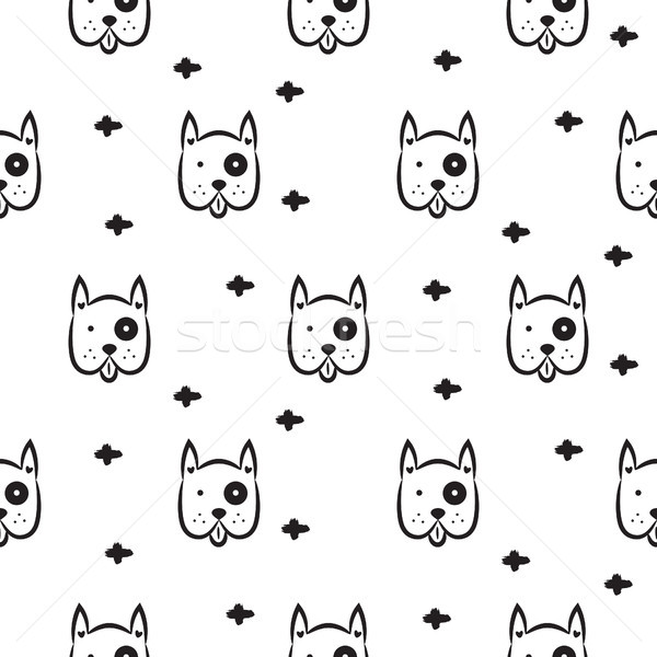 Dog scandinavian seamless vector monochrome pattern. Stock photo © yopixart
