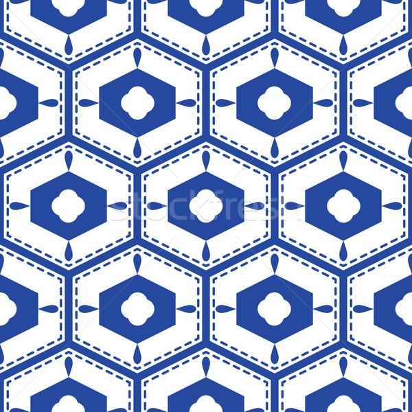 Blauw witte middellandse zee naadloos tegel patroon Stockfoto © yopixart