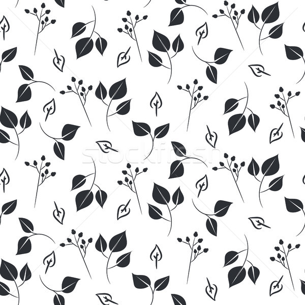 Leaves and dogrose seamless vector pattern. Stock photo © yopixart