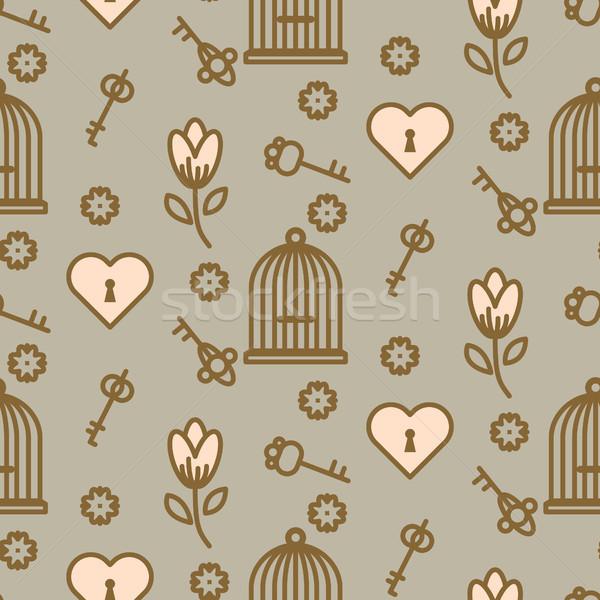 Gaiola romântico sem costura vetor padrão gaiola Foto stock © yopixart