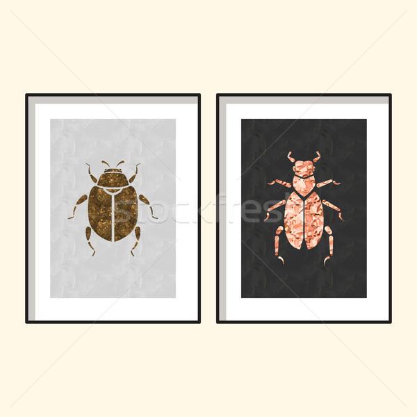 Beetle wall poster art designs vector. Stock photo © yopixart