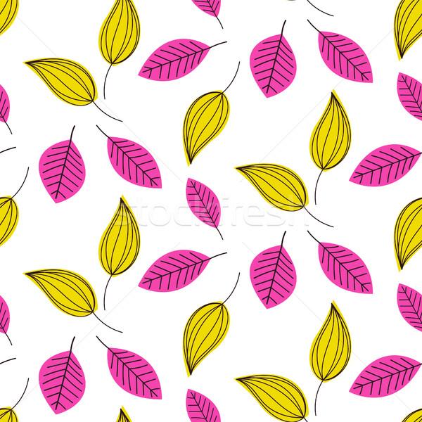 Hand drawn leaves seamless vector pattern. Stock photo © yopixart