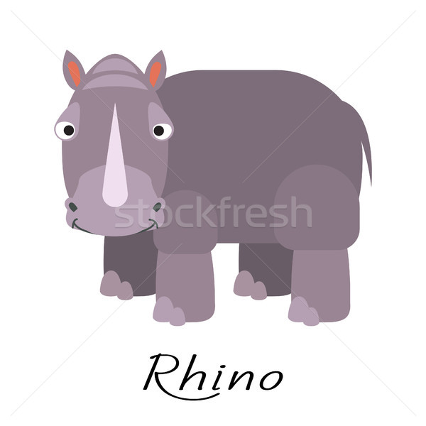 Rhinoceros wild cartoon animal vector on white. Stock photo © yopixart