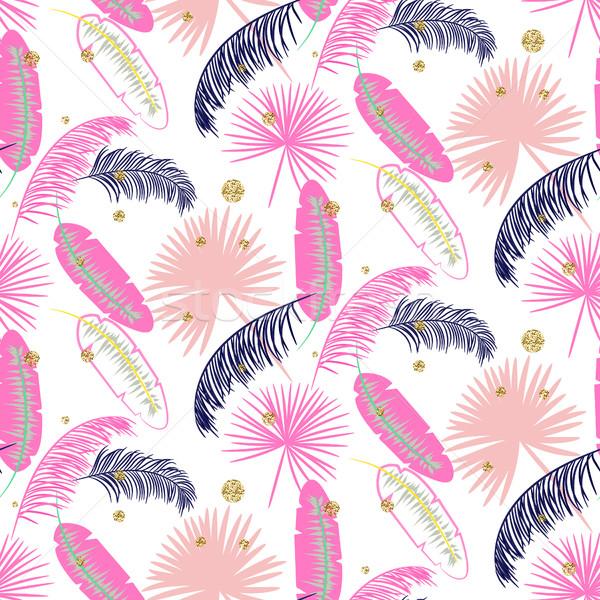 Roze banaan palmbladeren paars naadloos vector Stockfoto © yopixart
