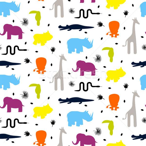 Renkli hayvanat bahçesi hayvan siluetleri bebek Stok fotoğraf © yopixart