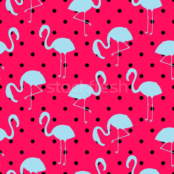 Blue and pink flamingo silhouette dotted pattern vector. Stock photo © yopixart