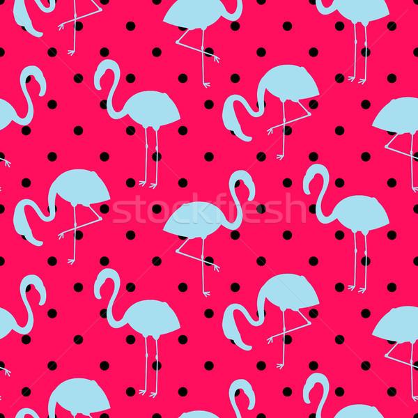 Azul rosa flamingo silhueta pontilhado padrão Foto stock © yopixart