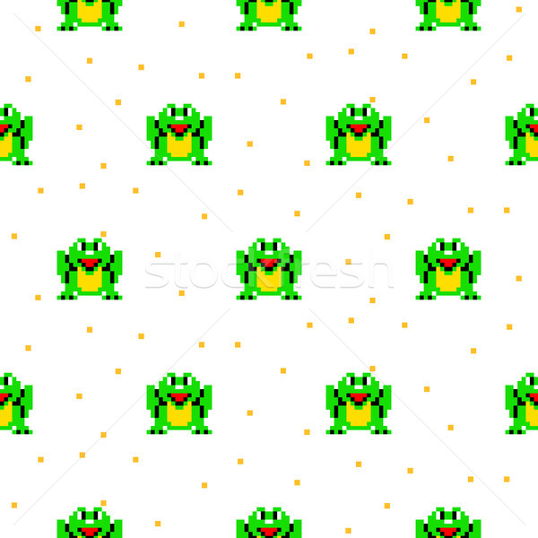 Green frog cartoon pixel art seamless pattern. Stock photo © yopixart