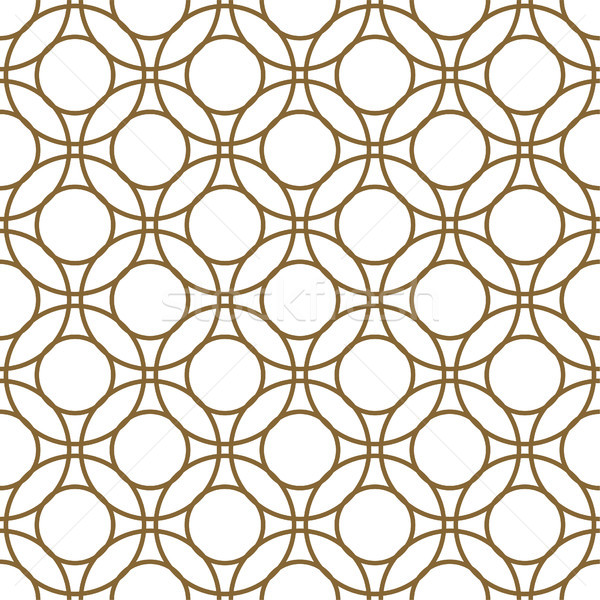 Gold and white overlapping circles seamless vector pattern. Stock photo © yopixart
