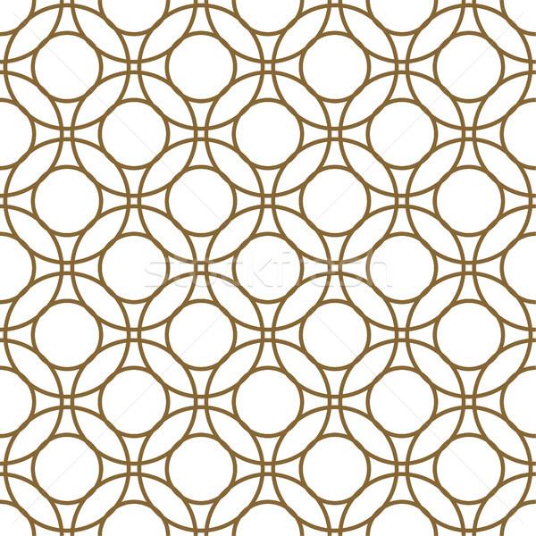 Arany fehér körök végtelenített vektor minta Stock fotó © yopixart
