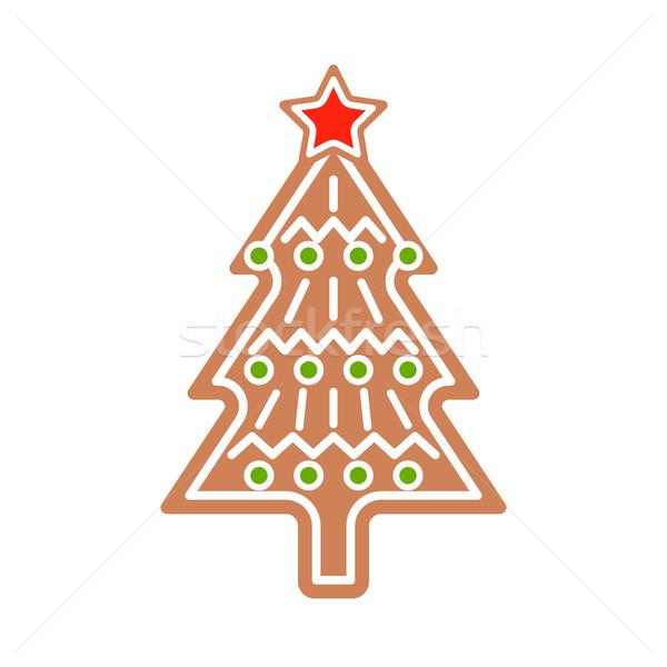 Gingerbread Christmas tree cookie vector illustration. Stock photo © yopixart