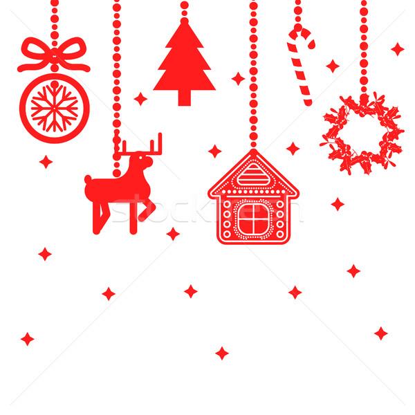 Akasztás karácsony játékok dekoráció vektor piros Stock fotó © yopixart