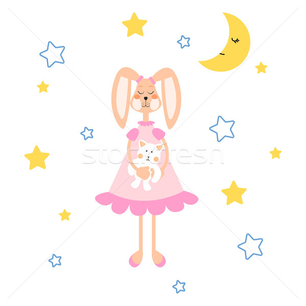 Pizsama illusztráció nyuszi medve plüss játék Stock fotó © yopixart
