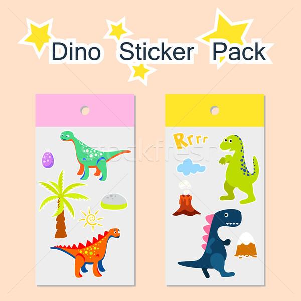 Adesivo empacotar dinossauro criança etiqueta modelo Foto stock © yopixart