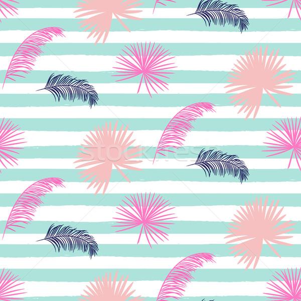 Rose banane feuilles de palmier rayé bleu Photo stock © yopixart