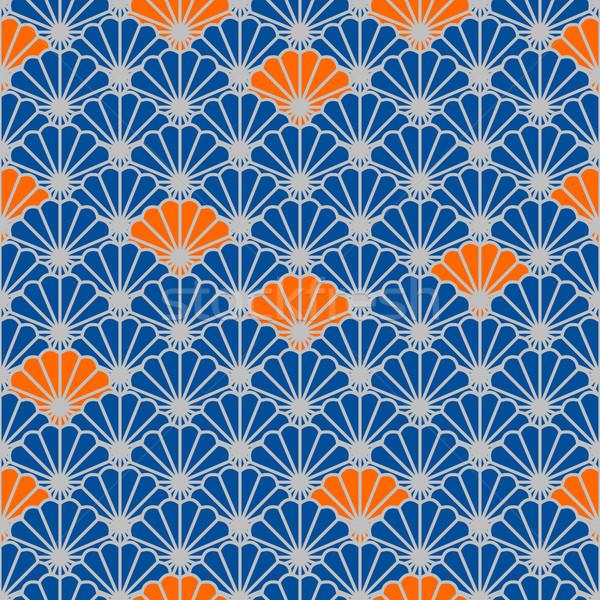 Japonais fan vecteur bleu orange Photo stock © yopixart