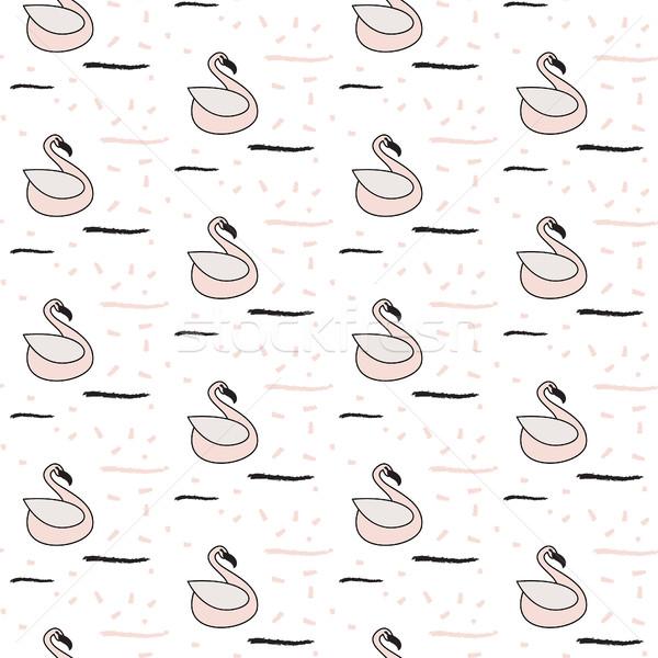 розовый лебедя бесшовный белый шаблон вектор шаблон Сток-фото © yopixart