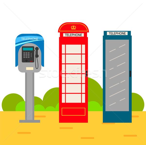 Telephone booth cartoon set. Stock photo © yopixart