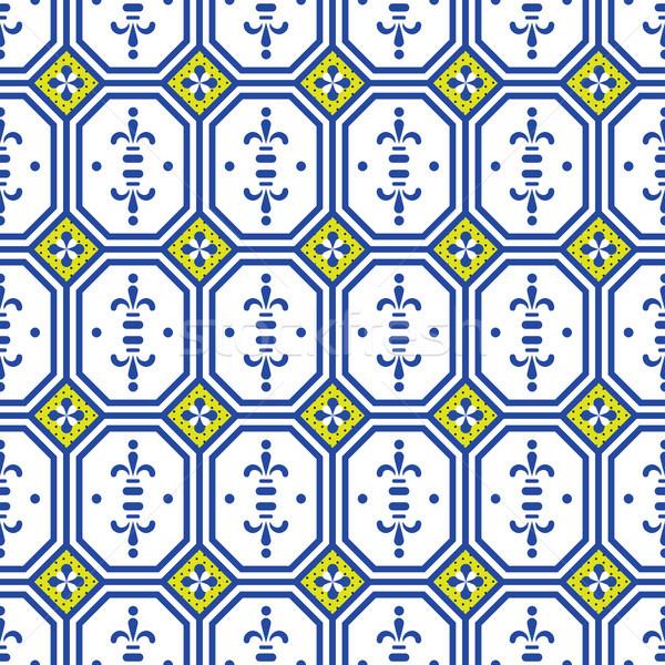 Céramique tuiles géométrique rétro Photo stock © yopixart