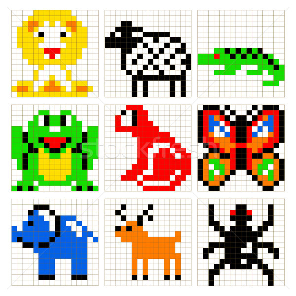 Pixel art animals vector set. Stock photo © yopixart