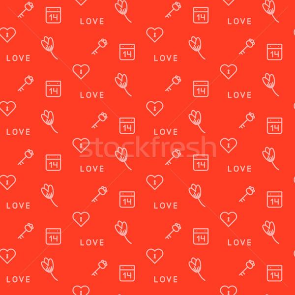 Foto stock: Vermelho · teclas · flores · sem · costura · vetor · padrão