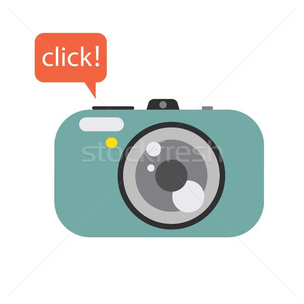 Fotografia aparat cyfrowy kliknij dymka kamery wektora Zdjęcia stock © yopixart