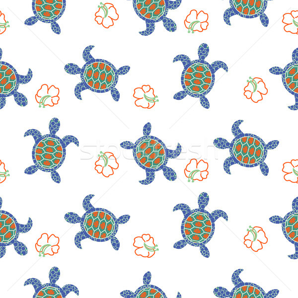 Tortoise decorative seamless vector pattern. Stock photo © yopixart