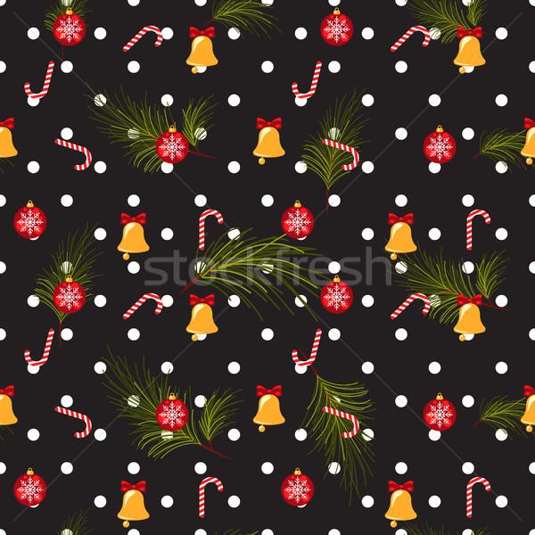 Karácsony pötty sötét végtelenített vektor minta Stock fotó © yopixart