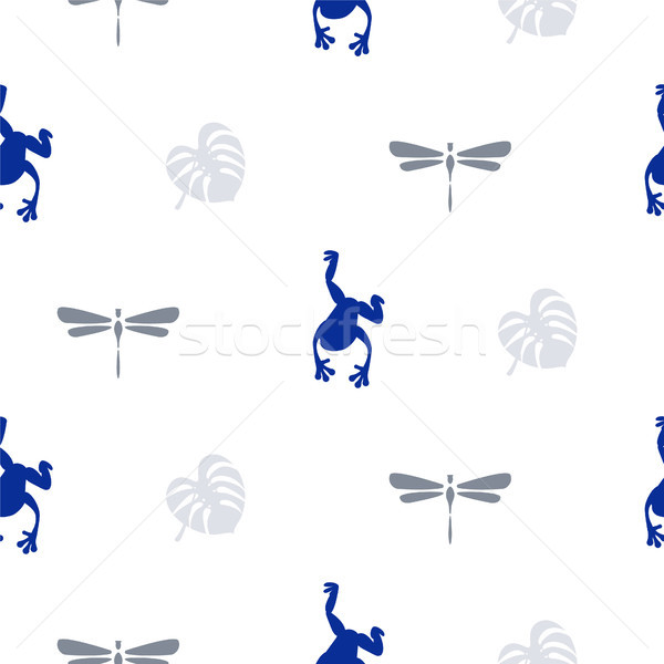 Photo stock: Silhouette · grenouille · libellule · simple · bleu