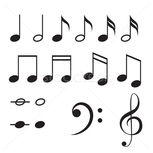 Music notes vector icon set. Stock photo © yopixart