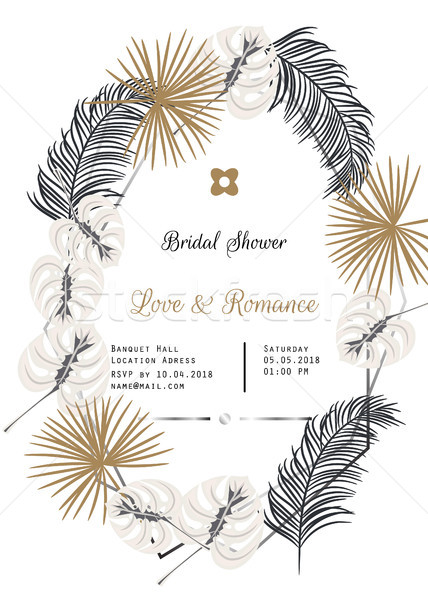 Bridal shower tropic leaves vector template design. Stock photo © yopixart