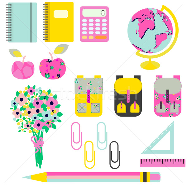 Stock photo: School supplies vector clip art stationery objects.
