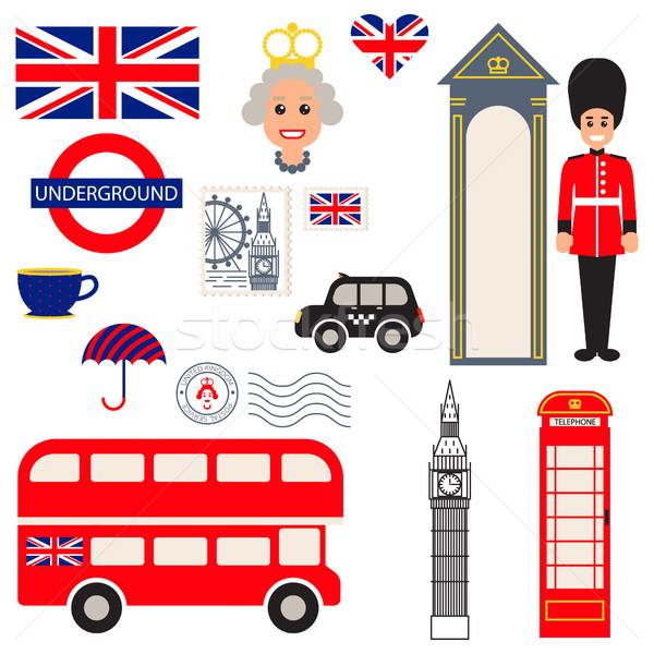 England vector traditional symbols. Stock photo © yopixart