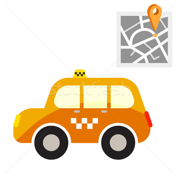 Taxi cab with map point vector illustration. Stock photo © yopixart