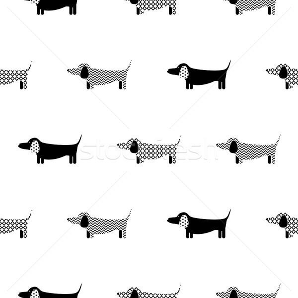 German badger-dog silhouette seamless vector monochrome pattern. Stock photo © yopixart