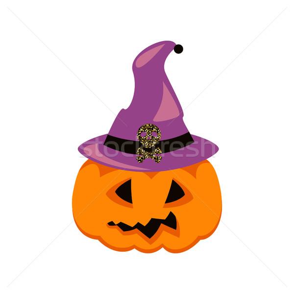 Kapelusz czarownicy wektora pomarańczowy dynia scary Zdjęcia stock © yopixart