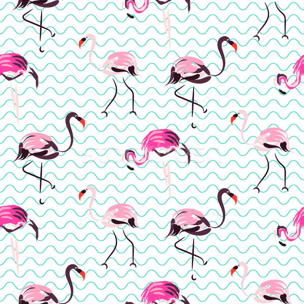 Hand drawn purple flamingo bird blue waves seamless pattern. Stock photo © yopixart